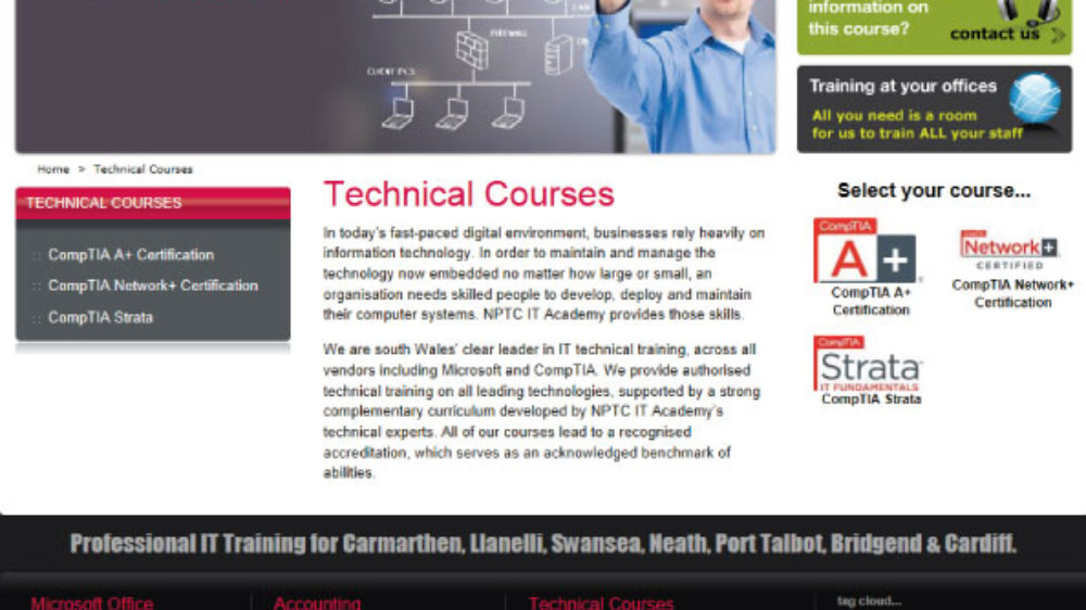 Training website developed for an official Microsoft IT Academy
