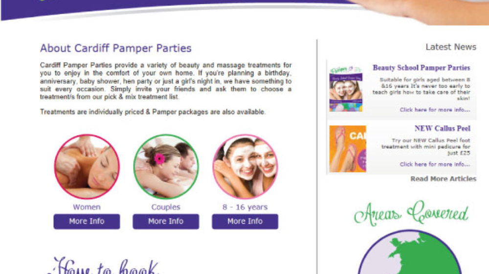 cardiff-pamper-party-website-design