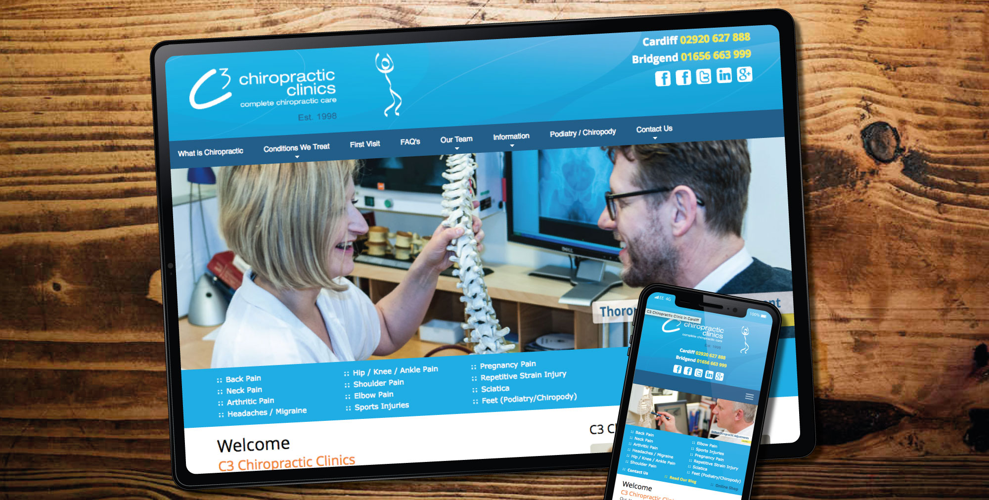 web design for chiropractor, Bridgend and Cardiff