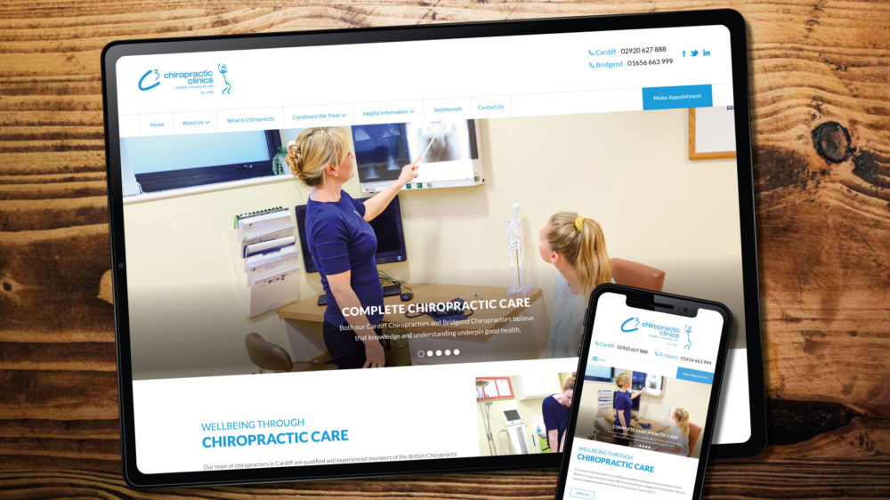 web design for chiropractor, Bridgend and Cardiff