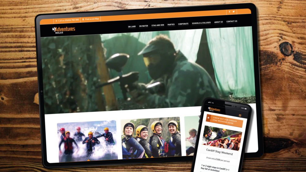 web design for adventure wales, Bridgend