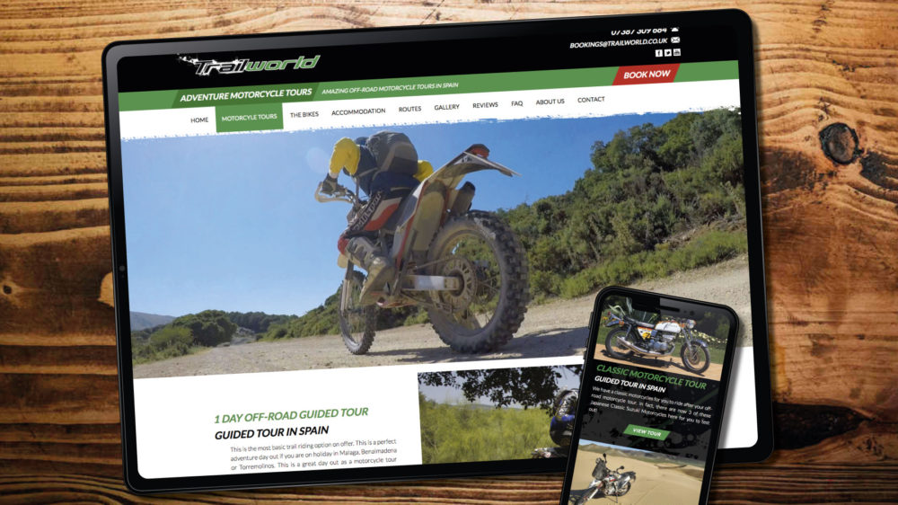 WordPress web design theme for motorcycle website. Created in-house by our web designer.