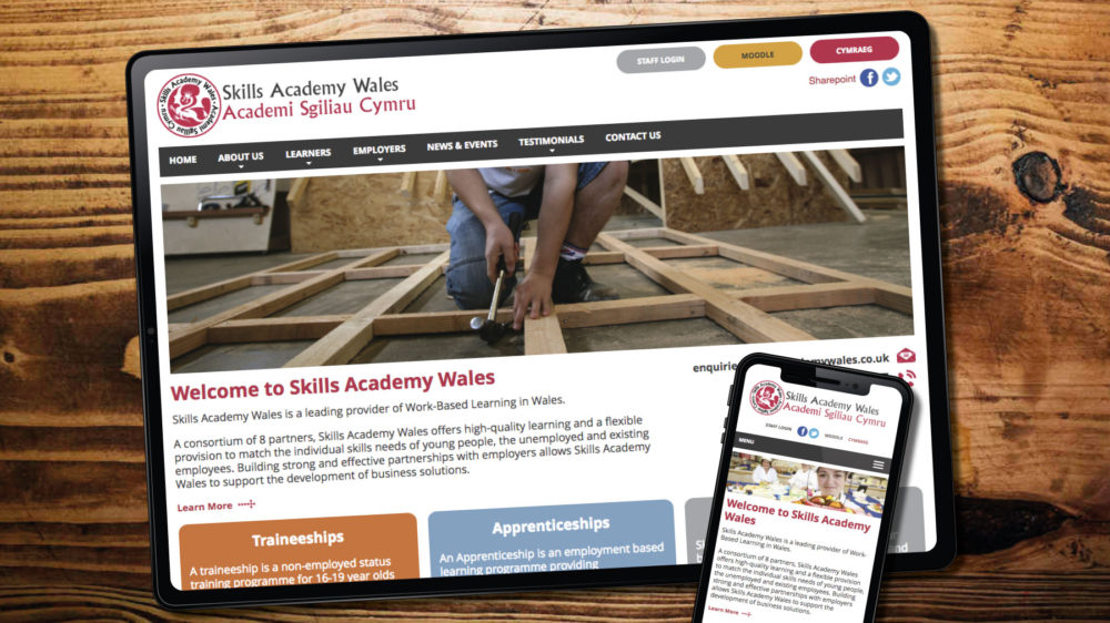 skills academy wales web design bespoke visual